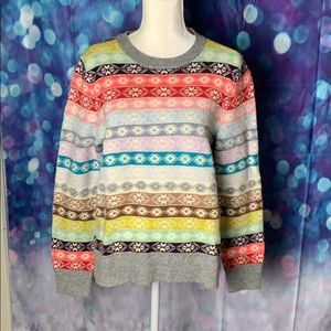 Gap lambswool sweater with colorful pattern. NWT.